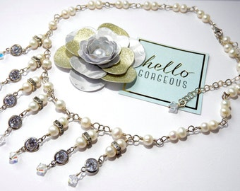 Fine Jewellery Cascading Pearl and Cubic Zirconia Bridal Necklace