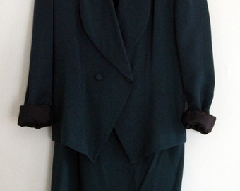 Vintage 90s Womens Suit Teal Green by Apart size 8