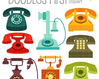 Retro Telephones Clip Art for Scrapbooking Card Making Cupcake Toppers Paper Crafts