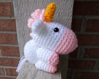 Handmade Unicorn Stuffy, Crochet Newborn Photo Prop, Amigurumi Horse Unicorn, Baby Photography Stuffed Toy, Magic Theme Animal, Fairy Tale