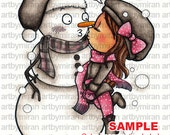 Digital Stamp -Snow Kissed (Snowman and girl), Chrisitmas Coloring page, winter illustration, Xmas digi stamp, instant download