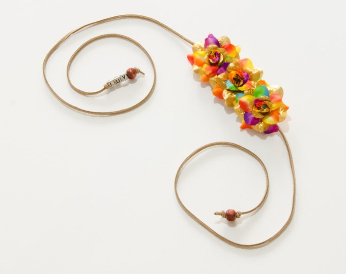 Gold Rainbow Rose Side Flower Crown