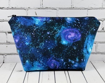 Galaxy Print Cosmetic Case, Space Make Up Bag, Solar System, Zip Pouch, Toiletry Bag.