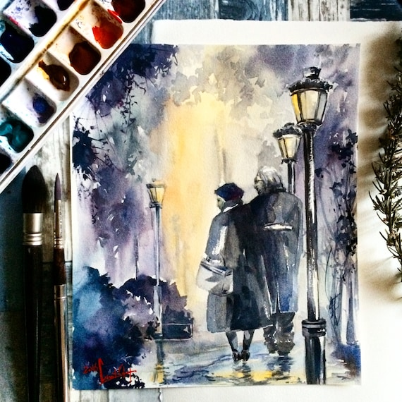 Original Watercolor Painting Couple In A Park Figures By