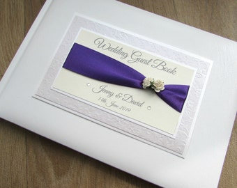 Personalised Handmade Wedding Guest Book Engagement Anniversary Birthday Bridal Journal Roses Purple