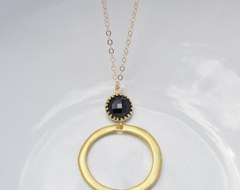 Onyx Gold Ring Necklace