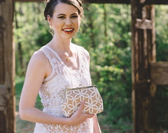 Sunflower Lace Bridal Clutch with Organza Embroidered Lace, Custom Clutch Purse, Eight inch Frame
