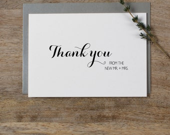 5 x Thank you from the New Mr & Mrs - Wedding Thank You Cards, Wedding Thank You Card - Newlyweds Wedding Card, Wedding Guest Thank You, K6