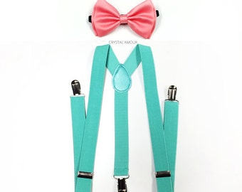 suspenders and bowtie, coral pink bowtie, MINT suspenders, bow tie and suspenders, set for groomsmen, children, teens and adults