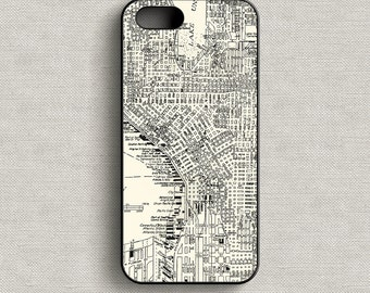 Vintage Map of Seattle Washington Phone Case iPhone 5 5C 6 6+ 7 7+