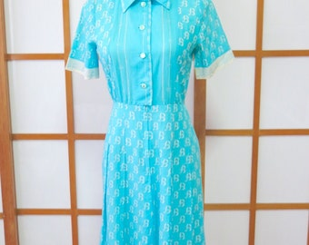 Vintage Aqua Shirt Dress, 1980s, Japan, XS