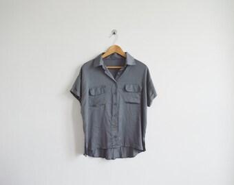 vintage 90s metallic grey top