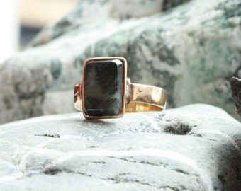 Victorian Rectangle Moss Agate 10k Yellow Gold Ring - JL635