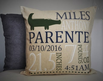 Personalized birth pillow cover, birth Announcement pillow cover, birth pillow cover, baby boy birth pillow, CUSTOMIZE, 18x18