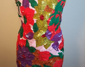 FREE  SHIPPING   Abstract  Sequin  Dress