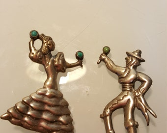 FREE  SHIPPING Sterling Silver Turquoise dancers brooches
