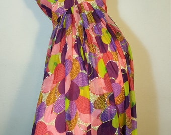 FREE  SHIPPING   Vintage  Psychedelic Mod  Gown