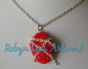 Chained Heart Necklace with Red Polymer Clay Human Heart and Silver Chains on Silver Crossed Chain or Black Faux Suede Cord, Anatomy, Love