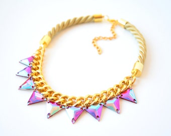 Gold Rope Cord Triangles Rhinestone Statement Necklace