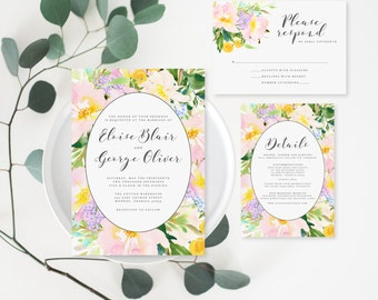 Printable Wedding Invitation Set - Floral Invitation Set - Whimsy Watercolor Invitation Set - Invitation, RSVP Card, Details Card (001)