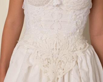 Lace Bridal Corset, White Lace Wedding Corset, Custom Wedding Gown Corset, Vintage Lace Wedding Gown Corset, White Lace Bridal Top