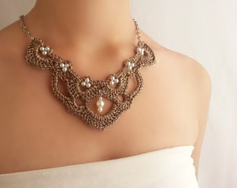 Statement gold necklace , Romantic Victorian necklace , Retro choker necklace , Baroque pearl necklace , Antique style jewelry , Vintage