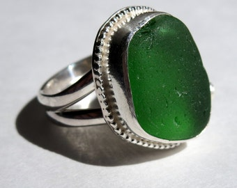Green Sea Glass Ring - Size 7