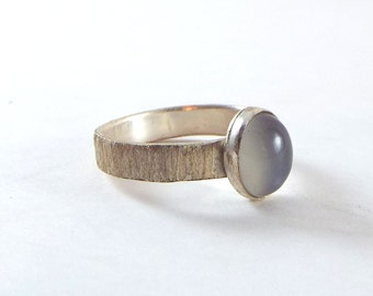 Grey Moonstone Ring OOAK