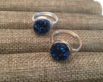 Blue Druzy Wire Wrap Ring / Druzzy/ Druzy/ Drusy -Qty 1