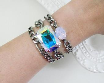 Crystal AB Swarovski Chunky Chain Bracelet / Aurora Borealis / Curb Chain / Silver Custom Bracelet / Designer Bracelet / Chain Link / AB