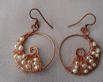 Copper wire-wrapped circle earrings