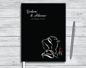 Disney Wedding Guest Book. Beauty and the Beast journal. Be our guest.