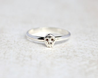 Tiny Skull Ring.  Sterling Silver skull jewelry.  Stacking rings.  Everyday wear ring.