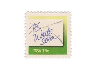 10 Unused Vintage Postage Stamps - 1980 15c Letter Writing - P. S. Write Soon - Item No. 1808 - Vintage Postage Shop