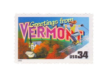 5 Unused US Postage Stamps - 2002 34c Greetings from Vermont - Item No. 3605
