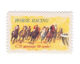 10 Unused Vintage Postage Stamps - 1974 10c Horse Racing - Item No. 1528