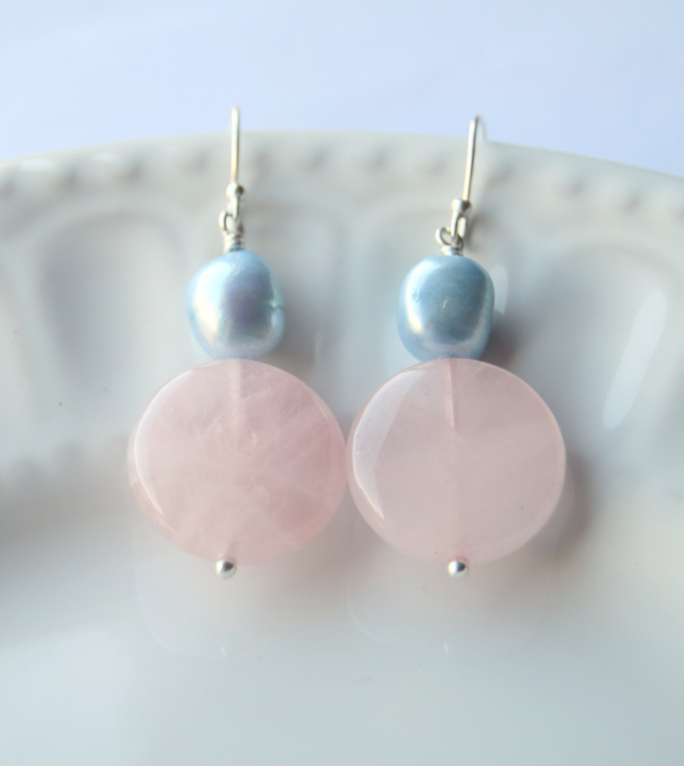 rose quartz serenity blue pearl earrings pink earrings. Black Bedroom Furniture Sets. Home Design Ideas