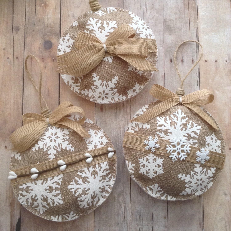 Christmas burlap ornaments white snowflakes xmas by