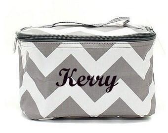 Chevron Monogrammed Make Up Bag  Chevron Cosmetic Bag  Monogrammed Makeup Bag