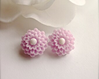 Lavender Flower Clip On Earrings, Dahlia Earrings, Flower Earrings, Lavender Flower Clip Earrings, Wedding Bridesmaid Jewelry, Romantic Gift