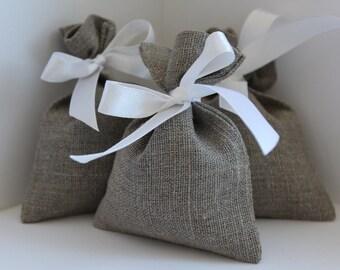 Linen gift bags - 10 pcs ~ Natural linen bags - Wedding favor bags - French Grey - Rustic wedding favor - Linen favor bag - linen small bags
