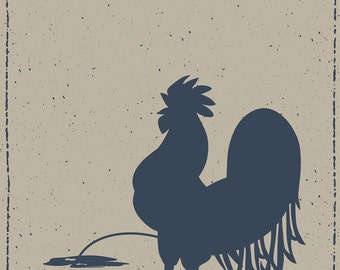 Rooster Print, Chicken Illustration, Animal Art Print, Animal Illustration, Quirky Art, Humorous Art, Humour, Adult Humor, Naughty Art Print