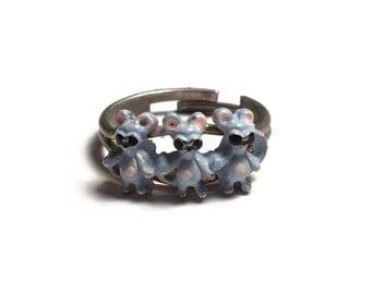 Three Blind Mice Adjustable Ring, Animal Jewelry, Nursery Rhyme, Mouse