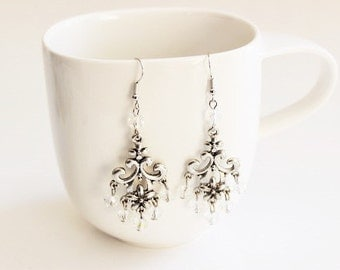 Clear Glass Chandelier Earrings