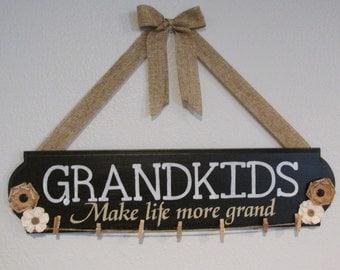 Grandkids Make life grand Sign - Grandkids- Grandchildren Sign -Painted Wood Sign -Burlap Flower Sign -Rustic Home decor - Grandparents gift
