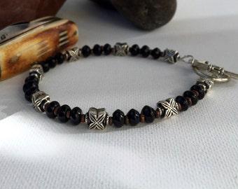Men's bracelet, Mens Onyx bracelet, mens beaded bracelet, Mens Black Onyx bracelet, Men's Black Bracelet, men's gift, gifts for him