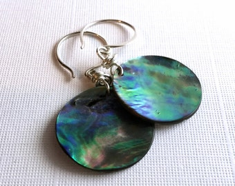 Abalone Shell Earring, Sterling Silver Jewelry, Round Natural Paua Shells, Hand Made Minimalist Seashell Earrings, Colorful Boho Jewelry