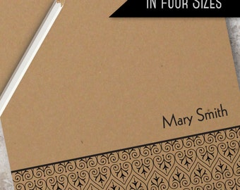 Custom Kraft Ornament Paper Note Pad   Monogrammed Personalized Notepad Available in 4 sizes