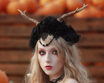 Gothic headpiece with horns | Black headband, lace, flowers, goth, victorian