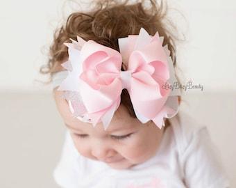Pink and white hair bow headband silver OTT grosgrain ribbon